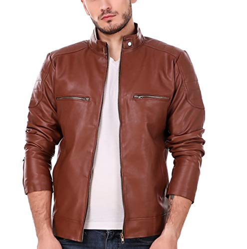 Leather Retail Tan Solid Biker Jacket for Man-XL
