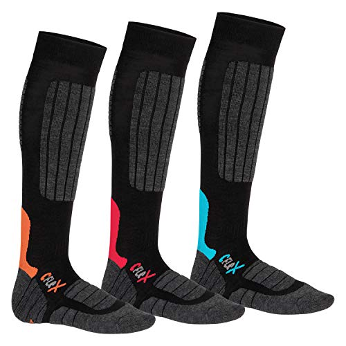 CFLEX 3 Paar HIGH PERFORMANCE Ski- und Snowboard Socken im 3-Farb-Pack-43-46
