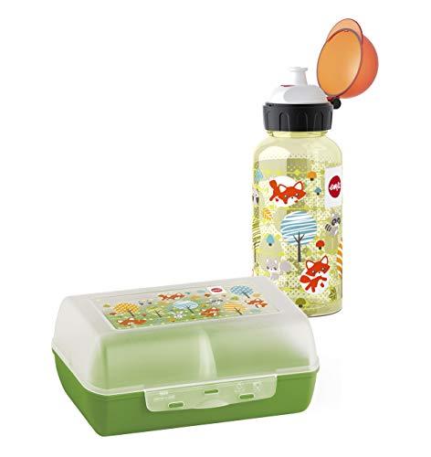 Emsa 518139 Kinder Set Trinkflasche + Brotdose, Motiv: Fuchs, BPA frei, Material: Trinkflasche aus Tritan, bruchfest und unbedenklich, Brotdose aus Kunststoff