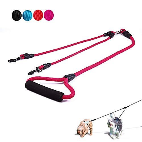 Supet Geflochten Doppelte Hundeleine, Keine Verwicklung Doppelleine Hundeleine mit Gepolsterter Griff Nylon Trainingsleine für Zwei Hunde