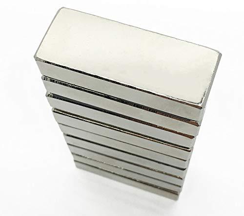 P&D 5 Forti magneti al neodimio N35 Ni, Dimensioni 40 x 10 x 5 mm, Magnete per Lavagna, Frigorifero,...