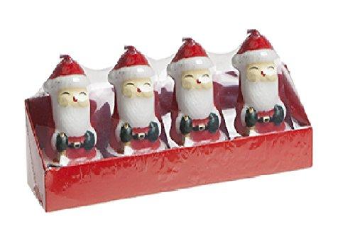 Packung von 4 - 3D Santa Teelicht Kerzen - Weihnachtsdekoration - Weihnachtskerzen