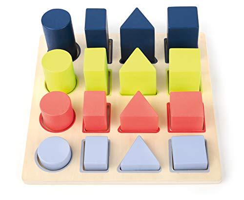 Small Foot- Gioco ad Incastro in Legno Geometria Giocattoli, Multicolore, 11100
