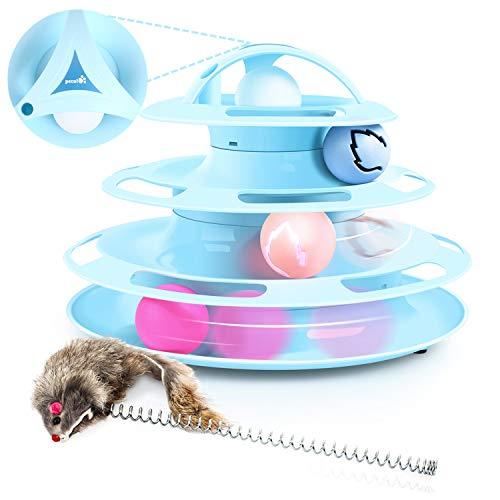 Pecute Giocattolo Gatto Traccia Antiscivolo e Removibile per Gatti 4 Strati 4 Palle con Catnip e...