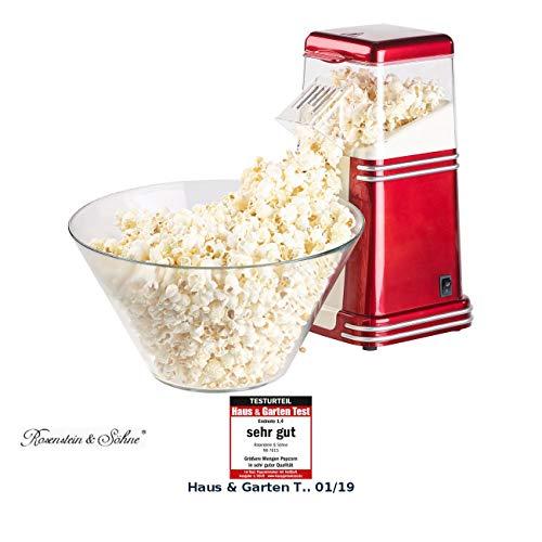 Rosenstein & Söhne Popcornmaschine Heißluft: XL-Heißluft-Popcorn-Maschine für bis zu 100 g Mais,...