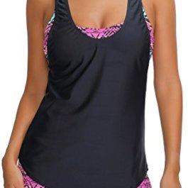 Bettydom Donna Costume da Bagno Modellante Mare e Piscina Beachwear Dimagrante Due Pezzi Tankini