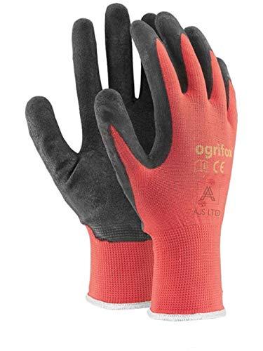 24 pares de guantes de trabajo con revestimiento de látex, de seguridad y duraderos, para jardín, de AJS LTD®, S-7, Red, 1