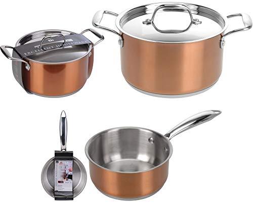 Excellent Houseware 5-teiliges Topfset Kupfer, aus rostfreiem Edelstahl, geeignet für alle Kochfelder