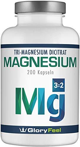 GloryFeel® Premium Magnesiumcitrat Vergleichssieger 2019* - 2400mg davon 360mg elementares Magnesium je Tagesdosis - 200 vegane Kapseln ohne Zusätze - Hergestellt und laborgeprüft in Deutschland