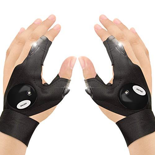 Guanti da pesca CestMall, 2 guanti a torcia a LED Guanti per illuminazione notturna senza dita,...
