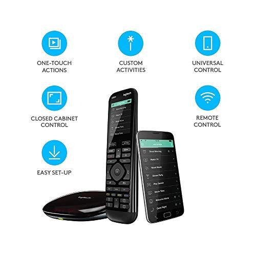 41iL61PcrVL [Bon Plan Philips Hue] Logitech Télécommande Harmony Elite Harmony Hub et Application Design Elégant Télécommande Universelle Actions Rapides Configuration Facile Noir