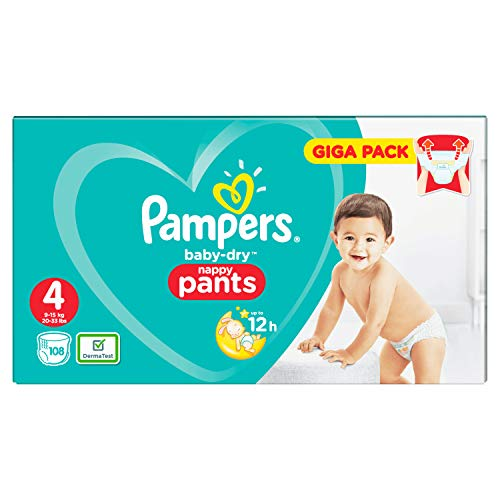 Pampers Baby-Dry Pants - Pannolini con canali d'aerazione, taglia 4, confezione da 108