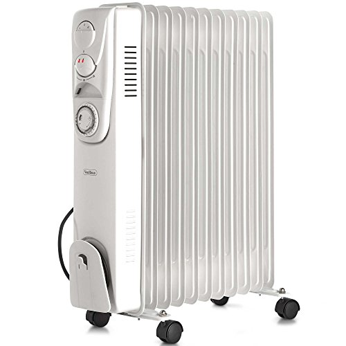 The VonHaus Oil Filled Radiator heater offers 2500W of energy output which is adequate to warm-up areas up to above 8m2. This model features 11 oil-filled radiators that are responsible for effectively dispensing heat.