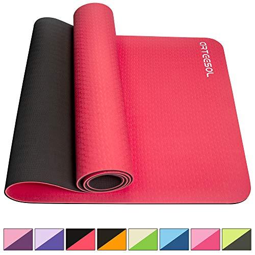 arteesol Yogamatte rutschfest Gymnastikmatte Schadstofffrei TPE Naturkautschuk Dünn Yoga Matte Fitnessmatte für Yoga Pilates Fitness 183cm x 80cm x 6mm (Rot, 183x80x0,6cm)