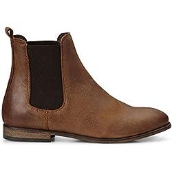 Cox Damen Damen Chelsea-Boots in Braun aus Leder, Stiefelette mit Stretch-Einsatz braun Leder 40