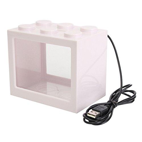 SODIAL Pecera clara de iluminacion LED USB mini Acuario de ornamento Decoracion de escritorio de oficina, Blanco