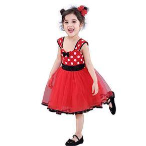 Vestidos de Baile de Ballet Vestidos for niñas Mickey Mouse Wave Point Falda de Malla Pettiskirt Princesa Boda ( Color : Red , Size : L )