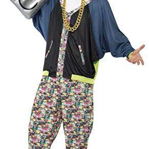 Smiffys-43198 Disfraz de Hip Hop años 80, Estampado, con Chaqueta, pantalón y Sombrero, Color, Tamaño único (Smiffy'S 43198)