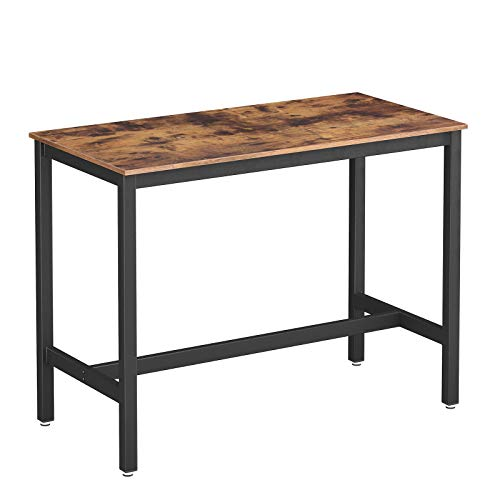 VASAGLE Vintage Bartisch Metall, Stabiler Stehtisch Tisch 120 x 60 x 90 cm für Cocktails, einfache Montage, Holzoptik, Küchentisch LBT91X