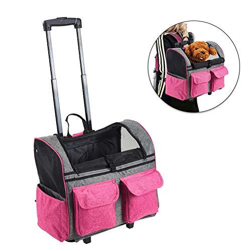 Louvra Transportín Portador Perro Carrito de Mascotas Capazo Perro Mochila Gatos Para Línea Aérea, Color Rosa