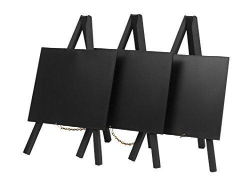 Securit-Lavagna a gesso da tavolo con treppiede, laccata, legno, nero, Mini, 24 x 15 cm, Set da 3