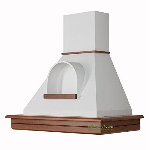 Cappa cucina rustica legno mod.Stock 90 parete -noce biondo cono bianco con nicchia ...
