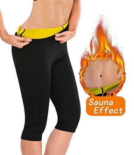 Progoco Pantaloni dimagranti da donna, in neoprene, termici, caldi, per sudare, definizione corpo, S