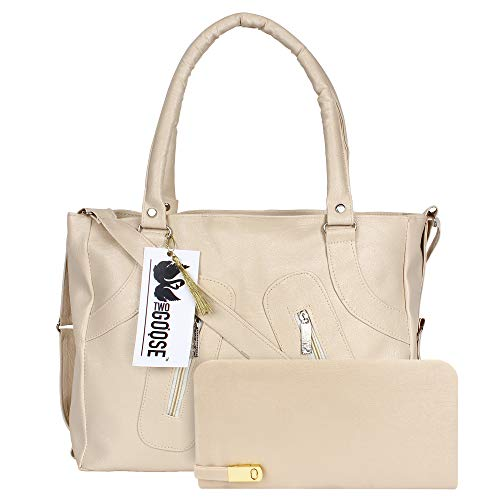 TWO GOOSE PU Leather Handbag and Wallet Clutch Combo for Women and Girls Ivory