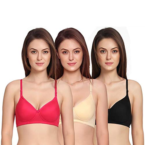 Zunahme Light Padded Non Wired Cotton T-Shirt Bra for Girls Women's Combo (Pack of 3) (34, Red::Black::Cream) 4
