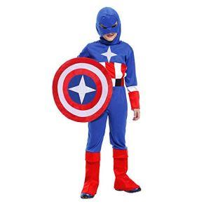 KIDSCOSPLAY Halloween Cosplay Traje Los Niños Capitán América Mascarada Juegos rol De Vestuario Blue-XL