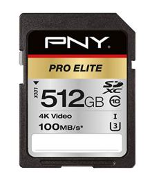 PNY Pro Elite Memoria Flash 512 GB SDXC Clase 10 UHS-I - Tarjeta de Memoria (512 GB, SDXC, Clase 10, UHS-I, 100 MB/s, Class 3 (U3))
