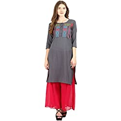 La-Firangi Women's Straight Kurta (STYLE652_grey_Multicoloured_xxx-large)