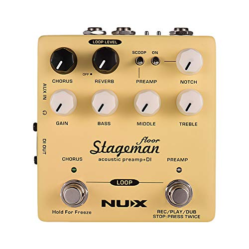 Festnight NUX Stageman Floor Acoustic Preamp + DI Effect Pedal with Chorus Reverb Freeze 60s Loop for Acoustic Guitar Violin Mandolin Banjo