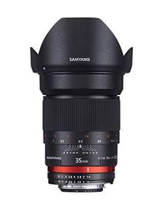 Samyang F1111009101 - Objetivo fotográfico DSLR para Micro Cuatro Tercios (distancia focal fija 35mm, apertura f/1.4-22 AS UMC, diámetro filtro: 77mm), negro