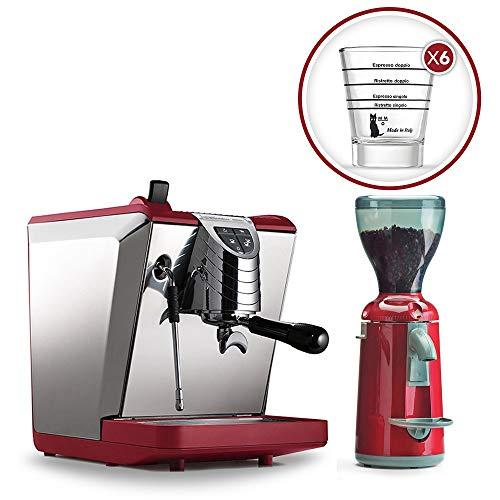 LaGondola Bundle-Máquina Caffe 'Espresso Nuova simonelli Oscar II macinacaffe' Grinta con temporizador y juego 6simpatiche tazas vasos de cristal Made in Italy