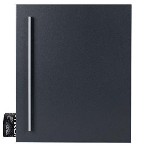 MOCAVI Box 110R Design-Briefkasten mit Zeitungsfach anthrazit-grau (RAL 7016) Wandbriefkasten, Schloss links, groß, Aufputzbriefkasten dunkelgrau, Postkasten anthrazitgrau modern mit Zeitungsrolle