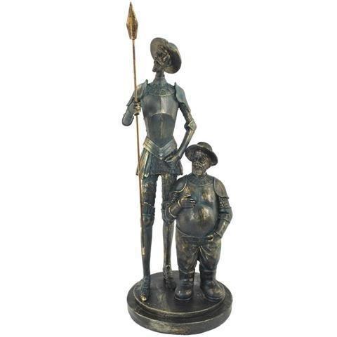 """Figura Decorativa """"Don Quijote y Sancho Panza"""" Esculturas Resina. 35 x 13.5 x 13.5 cm."""