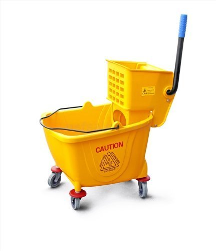 Commercial Mop Bucket with Wringer, 36 Quart/9 Gallon, Yellow