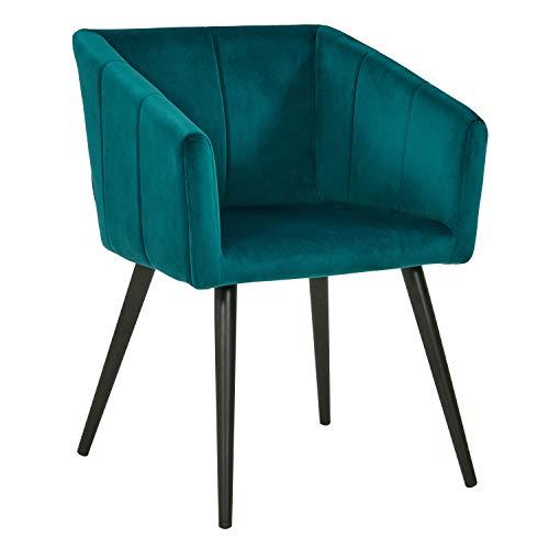 Duhome Sedia da Sala da Pranzo in Tessuto (Velluto) Verde bluastro Blu Azzurro Design Retro con Piedini in Metallo Sedia Imbottita Poltrona Vintage Selezione Colore 8065