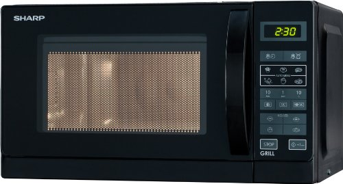 Sharp R642WW 2-in-1 Mikrowelle mit Grill / 20 L / 800 W / 1000 W Quarzgrill / 8 Automatikprogramme / Timer / Kindersicherung / Energiesparmodus / Glasdrehteller (25,5 cm) / weiß