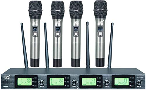 Maxcart Professional 4 Channel UHF Series Wireless/Cordless Microphones with 4 Metal Handhelds Variable Frequency Mic Set Audio for Family Party Church Karaoke Night DJ Party Public Event Microphone