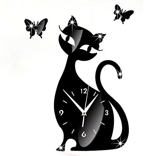 Orologio Da Parete Farfalla Gatto Nero Adesivo Da Parete Specchio Design Moderno Per La Casa Camera Da Letto Decorazione Amovibile Art Parete Baohooya