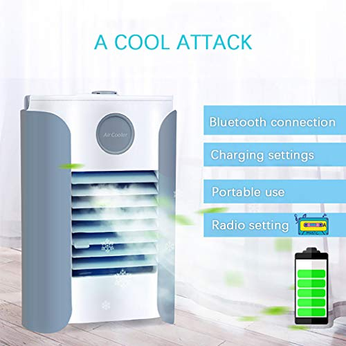 CAOQAO Multi-function Mini Portable USB Charging Humidification Purification Air Conditioning Fan...