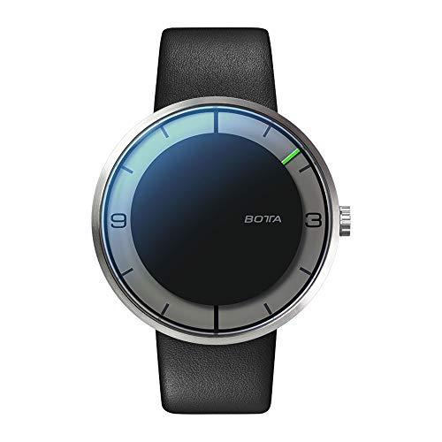 Botta-Design NOVA+ Automatik Armbanduhr - Einzeigeruhr, Edelstahl, Lederband (44 mm, Carbon)