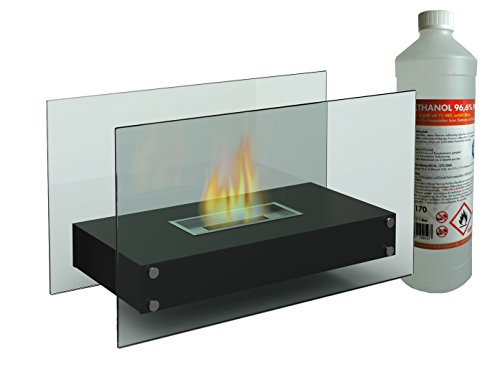 Luxury Table Fireplace/Table Approx. 70 cm with 1 Litre of Bioethanol Fireplace Glass for a cosy atmosphere