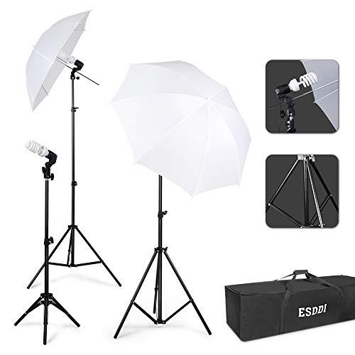 ESDDI Kit per Studio Fotografico Ombrelli Bianchi Riflettenti Ombrello Paraluce Kit di Illuminazione...