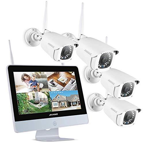 ANNKE Videosorveglianza WIfi 4CH 1080P FHD Sistema di sorveglianza NVR con Monitor LCD da 12' Pollici IP Bullet 1080P Visione Notturna IR Accesso Remoto senza HDD