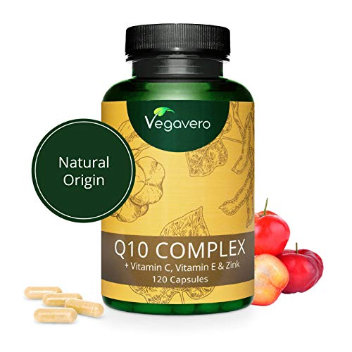COENZIMA Q10 Vegavero | 100 mg | NATURALE, NON SINTETICO | con Vitamina C, Vitamina E e Zinco | 120 capsule | Vegan