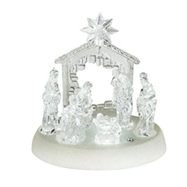 Crèche de Noël avec éclairage et musique boîte à musique Noël (Crèche avec éclairage LED cristal 1,5x 20cm, fonctionnement sur batterie, lampe de table, décoration de Noël, éclairage de Noël)