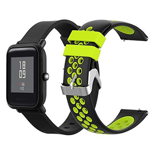 EEweca - Confezione da 2 cinturini sportivi compatibili con Smartwatch Amazfit Bip Traspirante
